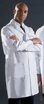 men's fine line twill staff length lab coat